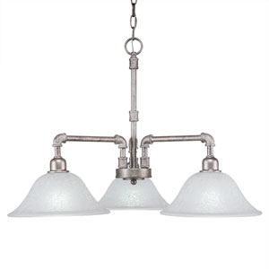 Vintage Aged Silver Three-Light 24-Inch Chandelier with White Marble Glass