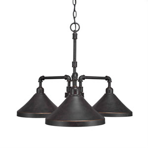 Vintage Dark Granite Three-Light 24-Inch Chandelier with 7-Inch Dark Granite Metal Shade