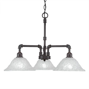 Vintage Dark Granite Three-Light 24.5-Inch Chandelier with Italian Bubble Glass
