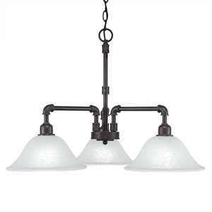 Vintage Dark Granite Three-Light 24-Inch Chandelier with Italian Marble Glass