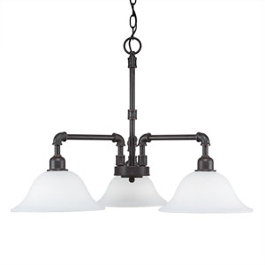Vintage Dark Granite Three-Light Chandelier with White Linen Glass