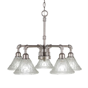 Vintage Aged Silver Five-Light Chandelier with Italian Bubble Glass