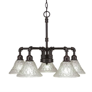 Vintage Dark Granite Five-Light Chandelier with Italian Bubble Glass