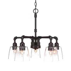 Vintage Dark Granite Five-Light Chandelier with Clear Bubble Glass