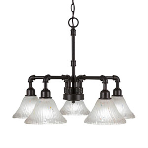 Vintage Dark Granite Five-Light Chandelier with Frosted Crystal Glass
