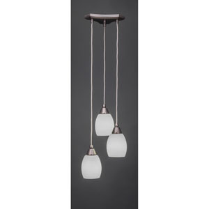 Europa Three-Light Multi Mini Pendant - Brushed Nickel Finish with 5 Inch White Linen Glass