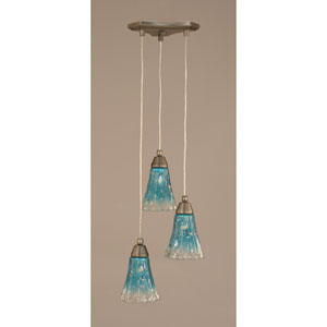Europa Three-Light Multi Mini Pendant - Brushed Nickel Finish with 5.5 Inch Teal Crystal Glass