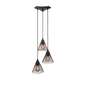Matte Black Three-Light Multi-Light Mini Pendant with 7-Inch Matte Black Metal Shade Glass