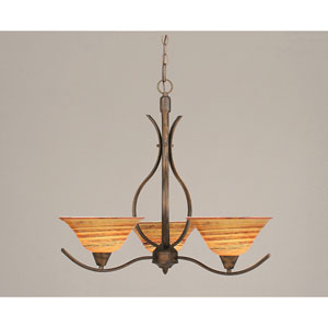 Swoop Bronze Three-Light Chandelier with FirrT Saturn Glass