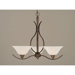 Swoop Bronze Three-Light Chandelier with 10-Inch Dew Drop Glass Shade