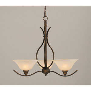 Swoop Bronze Three-Light Chandelier with 10-Inch Amber Marble Glass Shade