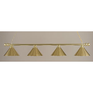 Polished Brass Round Four-Light Island Pendant with Polished Brass Metal Shade