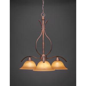 Bronze Three-Light Chandelier with Cayenne Linen Glass
