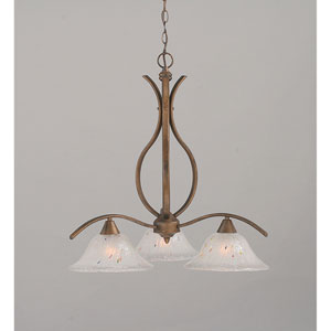 Swoop Bronze Three-Light Downlight Chandelier with Frosted Crystal Glass