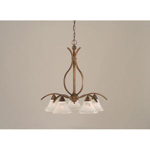 Swoop Bronze Five-Light Downlight Chandelier with Frosted Crystal Glass