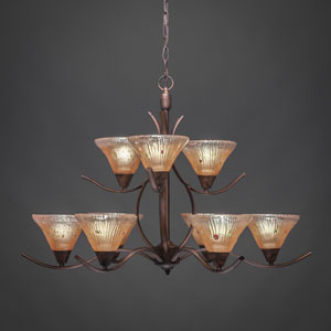 Swoop Bronze Nine-Light Chandelier with Amber Crystal Glass