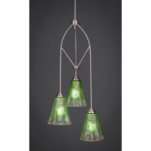 Contempo Brushed Nickel Three-Light Multi Light Mini Pendant w/ 5.5-Inch Kiwi Green Crystal Glass