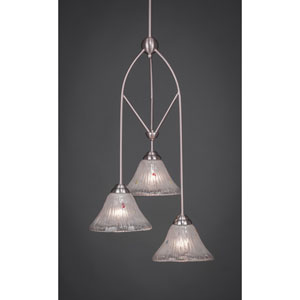 Contempo Brushed Nickel Three-Light Multi Light Mini Pendant w/ 7-Inch Frosted Crystal Glass