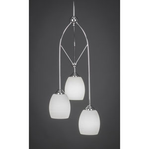 Contempo Chome Three-Light Multi Light Mini Pendant w/ 5-Inch White Linen Glass