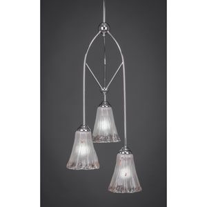 Contempo Chome Three-Light Multi Light Mini Pendant w/ 5.5-Inch Frosted Crystal Glass
