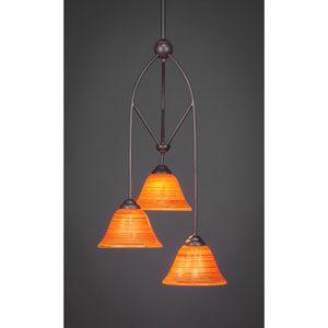Contempo Dark Granite Three-Light Multi Light Mini Pendant w/ 7-Inch Firr Saturn Glass