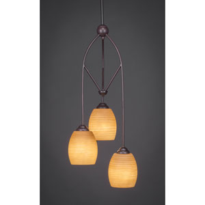 Contempo Dark Granite Three-Light Multi Light Mini Pendant w/ 5-Inch Cayenne Linen Glass