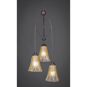 Contempo Dark Granite Three-Light Multi Light Mini Pendant w/ 7-Inch Amber Crystal Glass