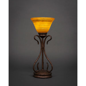 Swan Bronze One-Light Table Lamp with Firre Saturn Glass Shade
