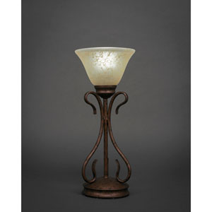Swan Bronze One-Light Table Lamp with Amber Marble Glass Shade