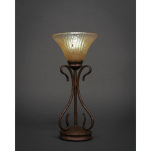 Swan Bronze Mini Table Lamp with Amber Crystal Glass