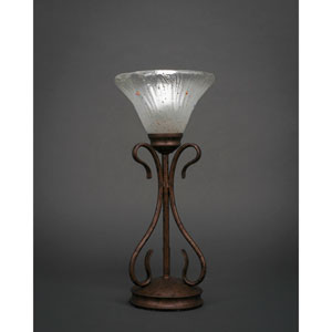 Swan Bronze One-Light Table Lamp with Frosted Crystal Glass Shade