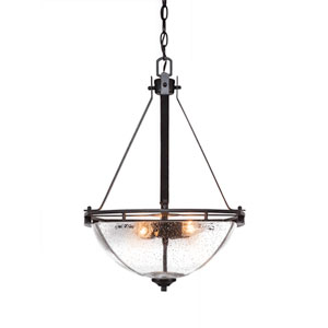 Uptowne Dark Granite Three-Light Bowl Pendant with Clear Bubble Glass