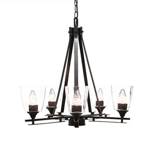 Uptowne Dark Granite Five-Light Chandelier with Clear Bubble Glass