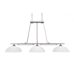 Uptowne Aged Silver Three-Light Island Pendant with White Muslin Glass