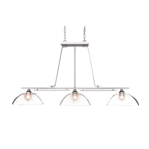 Uptowne Dark Granite Three-Light Island Pendant with Clear Bubble Glass