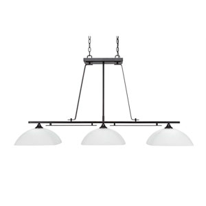 Uptowne Dark Granite Three-Light Island Pendant with White Muslin Glass