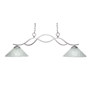 Revo Aged Sivler Two-Light Island Pendant with 12-Inch Italian Bubble Glass Shade