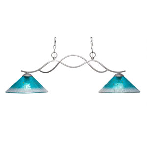 Revo Aged Sivler Two-Light Island Pendant with 12-Inch Teal Crystal Glass Shade