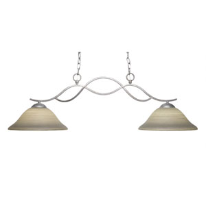 Revo Aged Sivler Two-Light Island Pendant with 12-Inch Gray Linen Glass Shade