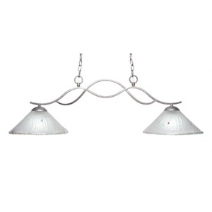 Revo Aged Sivler Two-Light Island Pendant with 12-Inch Frosted Crystal Glass Shade