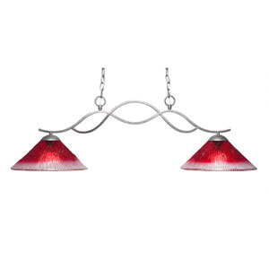 Revo Aged Sivler Two-Light Island Pendant with 12-Inch Raspberry Crystal Glass Shade