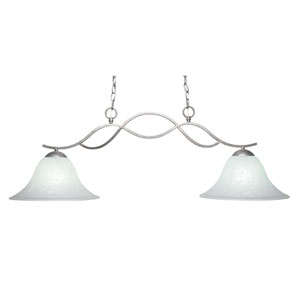 Revo Aged Sivler Two-Light Island Pendant with 14-Inch White Marble Glass Shade