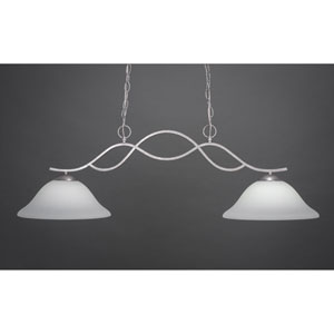 Revo Dark Granite Two-Light Pendant with White Linen Glass