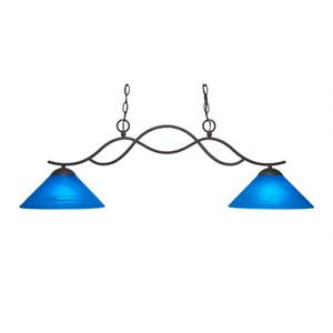 Revo Dark Granite Two-Light Island Pendant with 12-Inch Blue Italian Glass Shade