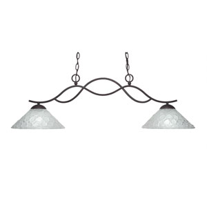 Revo Dark Granite Two-Light Island Pendant with 12-Inch Italian Bubble Glass Shade