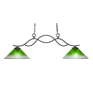 Revo Dark Granite Two-Light Island Pendant with 12-Inch Kiwi Green Crystal Glass Shade