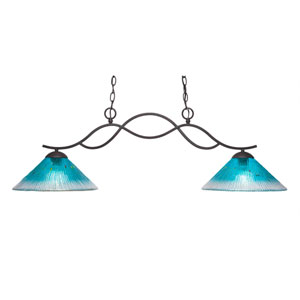 Revo Dark Granite Two-Light Island Pendant with 12-Inch Teal Crystal Glass Shade