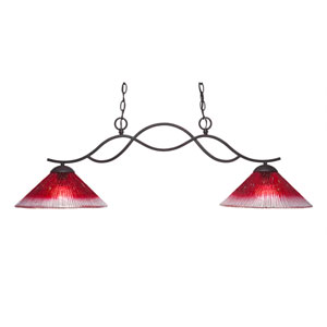 Revo Dark Granite Two-Light Island Pendant with 12-Inch Raspberry Crystal Glass Shade