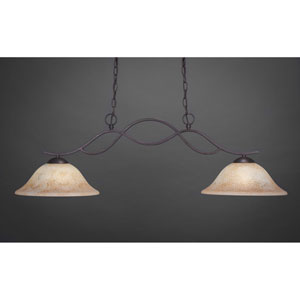 Revo Dark Granite Two-Light Pendant with Italian Marble Glass