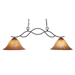Revo Dark Granite Two-Light Island Pendant with 14-Inch Tiger Glass Shade